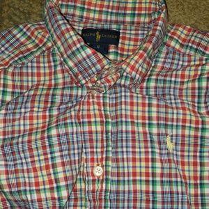 Boys button up ralph Lauren polo shirt size 6